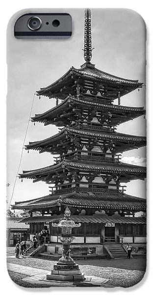 HORYU-JI TEMPLE PAGODA B W - NARA JAPAN iPhone Case by Daniel Hagerman
