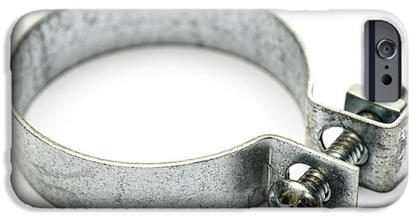 Work Tool iPhone Cases - Hose Clamp Isolated on White iPhone Case by Donald  Erickson