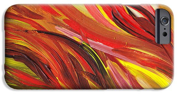 Freed Paintings iPhone Cases - Hot Abstract Flames iPhone Case by Irina Sztukowski
