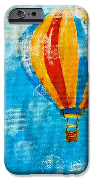 Hot Air Balloon Mixed Media iPhone Cases - Hot Air Balloon #6 iPhone Case by Music of the Heart