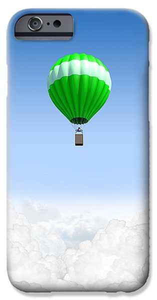 Hot Air Balloon iPhone Cases - Hot Air Balloon Above The Clouds iPhone Case by Allan Swart