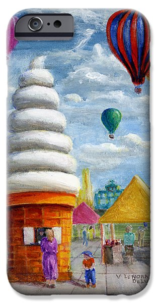 Best Sellers -  - Hot Air Balloon iPhone Cases - Hot Air Balloon Carnival and Giant Ice Cream Cone iPhone Case by Lenora  De Lude