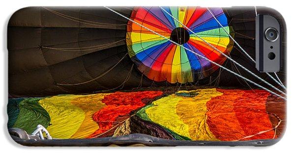 Quechee iPhone Cases - Hot Air Balloon Firing Up iPhone Case by Edward Fielding