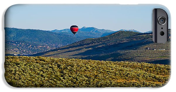 Hot Air Balloon iPhone Cases - Hot Air Balloon Flying In A Valley iPhone Case by Panoramic Images