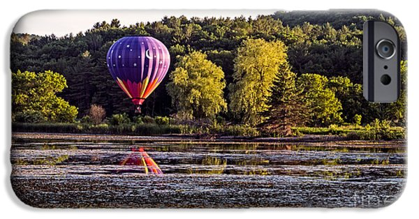 Hot Air Balloon iPhone Cases - Hot Air Balloon over Pond iPhone Case by Edward Fielding