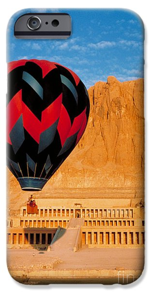 Thebes iPhone Cases - Hot air Balloon Over Thebes Temple iPhone Case by John G Ross