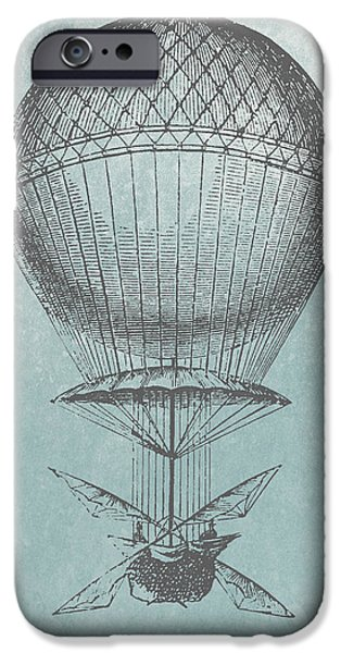 Aeronautical iPhone Cases - Hot-Air Balloon - Retro Design iPhone Case by World Art Prints And Designs