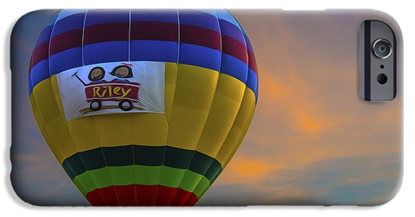 Hot Air Balloon iPhone Cases - Hot Air Balloon Riley Sunset Digitally Painted iPhone Case by David Haskett