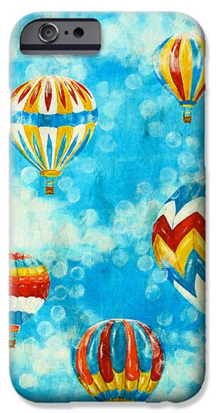 Hot Air Balloon Mixed Media iPhone Cases - Hot Air Balloons #1 iPhone Case by Music of the Heart