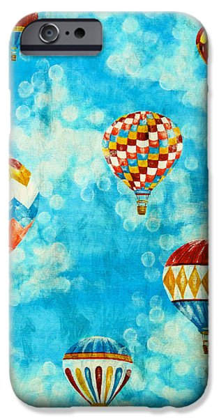 Hot Air Balloon Mixed Media iPhone Cases - Hot Air Balloons #2 iPhone Case by Music of the Heart