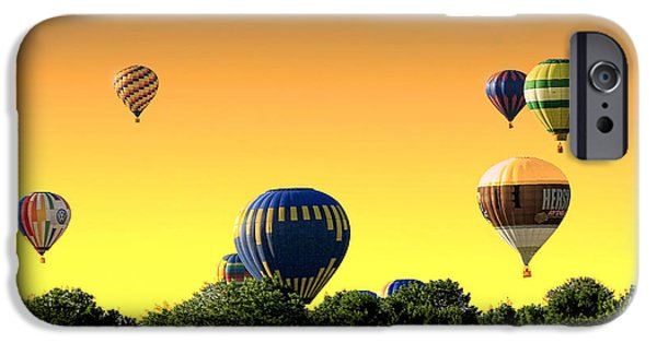 Balloon Vendor iPhone Cases - Hot Air Balloons At Sunset  iPhone Case by Geraldine Scull