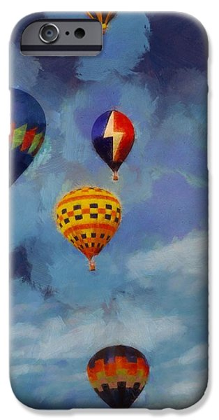 Technology Paintings iPhone Cases - Hot Air Balloons iPhone Case by Dan Sproul