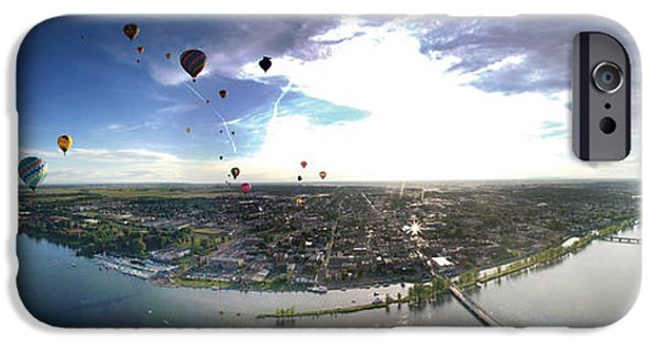 Hot Air Balloon iPhone Cases - Hot Air Balloons Flying Over A River iPhone Case by Panoramic Images