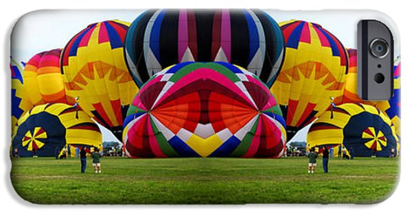Hot Air Balloon iPhone Cases - Hot Air Balloons Mirror Image 2 Panel Composite Digital Art iPhone Case by Thomas Woolworth