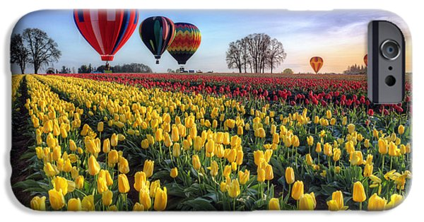 Best Sellers -  - Hot Air Balloon iPhone Cases - Hot air balloons over tulip fields iPhone Case by William Lee