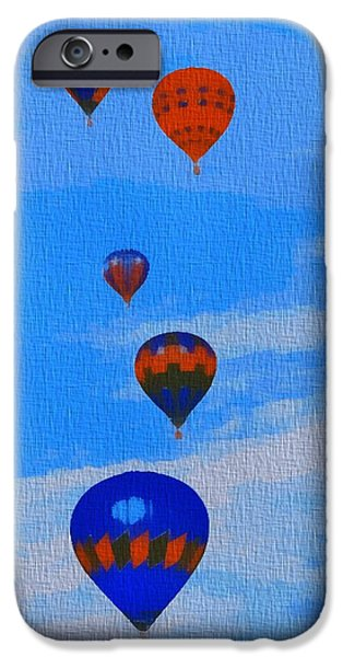 Hot Air Balloon Mixed Media iPhone Cases - Hot Air Balloons Pop Art iPhone Case by Dan Sproul