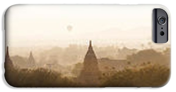 Buddhism iPhone Cases - Hot Air Balloons Rise Above The Ancient iPhone Case by Panoramic Images