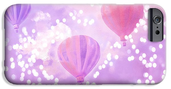 Hot Air Balloon iPhone Cases - Surreal Dreamy Hot Air Balloons Lavender Purple Carnival Festival Art - Child Baby Girl Nursery Art iPhone Case by Kathy Fornal
