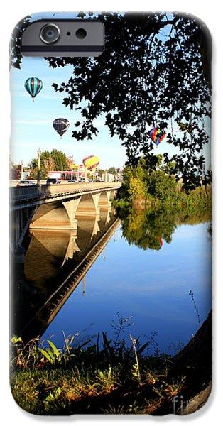 Hot Air Balloons through Tree iPhone Case by Carol Groenen