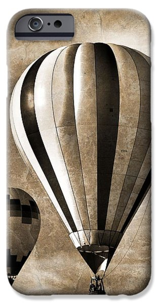Hot Air Balloon Mixed Media iPhone Cases - Hot Air Balloons Vintage iPhone Case by Dan Sproul