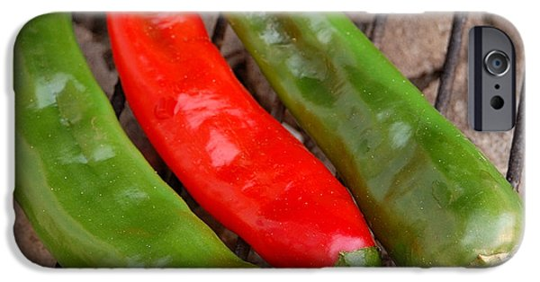 Pleasure iPhone Cases - Hot and Spicy - Chiles On The Grill iPhone Case by Steven Milner