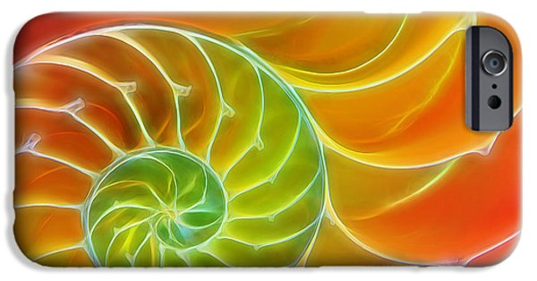Green Surreal Geometric iPhone Cases - Hot and Spicy Spirals iPhone Case by Gill Billington