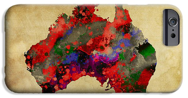 Koala Digital Art iPhone Cases - Hot Australia Map iPhone Case by Daniel Hagerman