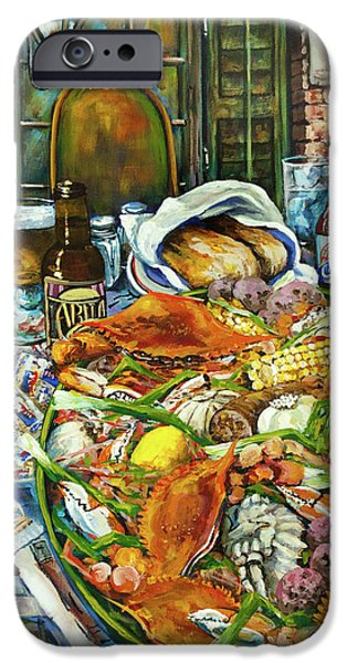 French Quarter Paintings iPhone Cases - Hot Boiled Crabs iPhone Case by Dianne Parks