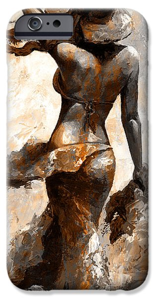 Beach Model iPhone Cases - Hot breeze - Digital color version rust iPhone Case by Emerico Imre Toth