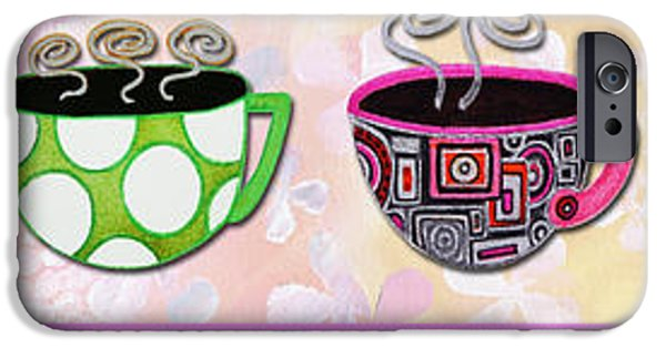 Tea Party Paintings iPhone Cases - Hot Cuppa Mugs Cups Whimsical Pop Art Tea Party by Romi and Megan iPhone Case by Megan Duncanson