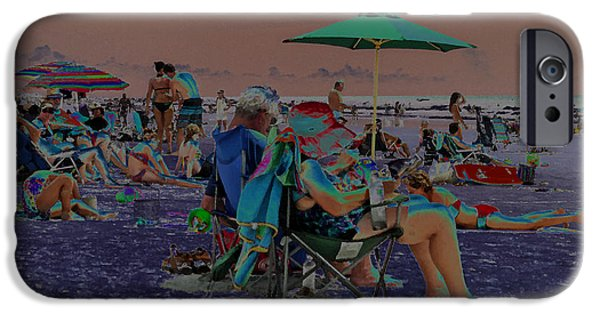 Digital Art Jewelry iPhone Cases - Hot Day at the Beach - Solarized iPhone Case by Suzanne Gaff