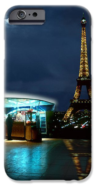 Evening Scenes iPhone Cases - Hot Dog in Paris iPhone Case by Mike McGlothlen