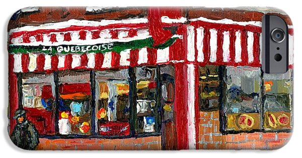 Montreal Memories. iPhone Cases - Hot Food On A Cold Day Quebec Restaurant Winter Scene Paintings Waiting For The Bus Montreal Art  iPhone Case by Carole Spandau