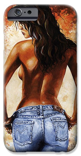 Art Nude iPhone Cases - Hot Jeans 02 blue iPhone Case by Emerico Imre Toth
