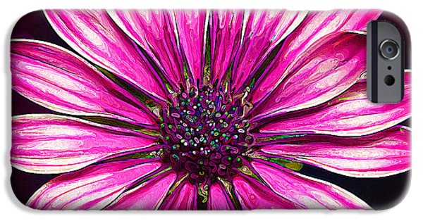 Floral Digital Art Digital Art iPhone Cases - Hot Pink Daisy iPhone Case by Bill Caldwell -        ABeautifulSky Photography