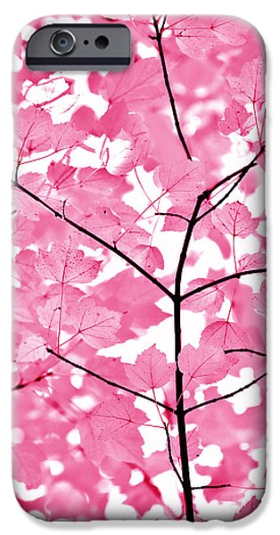 Fushia iPhone Cases - Hot Pink Leaves Melody iPhone Case by Jennie Marie Schell