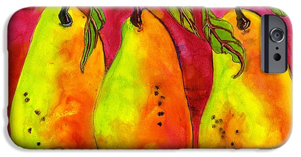 Pear Art iPhone Cases - Hot Pink Three Pears iPhone Case by Blenda Studio
