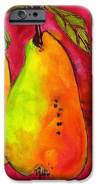 Hot Pink Three Pears iPhone Case by Blenda Studio