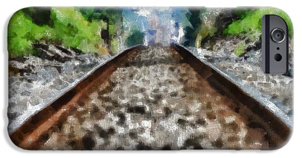 Great Mysteries iPhone Cases - Hot Railroad Tracks Summer Day iPhone Case by Dan Sproul