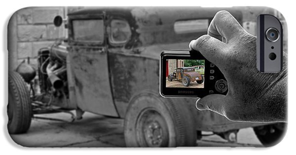 Bad Ass iPhone Cases - Hot Rod Photo Color Selective iPhone Case by Christopher McKenzie