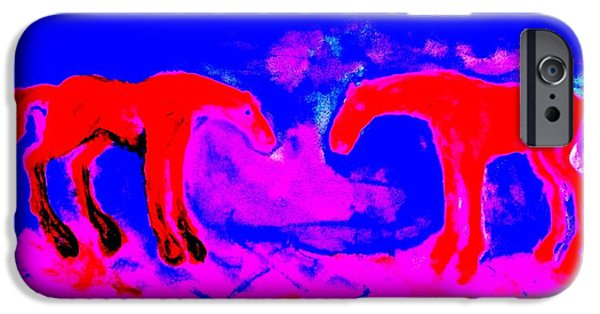 Young Paintings iPhone Cases - Hot romance  iPhone Case by Hilde Widerberg