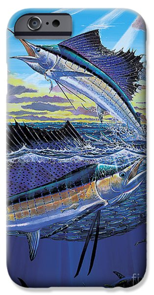 Sailfish Paintings iPhone Cases - Hot Spot Off0073 iPhone Case by Carey Chen