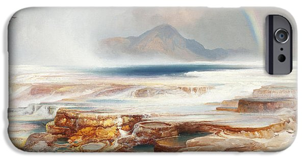 Recently Sold -  - Field. Cloud iPhone Cases - Hot Springs of the Yellowstone iPhone Case by Thomas Moran