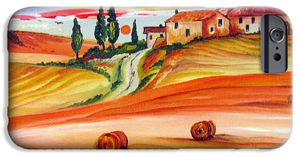 Tuscan Sunset Paintings iPhone Cases - Hot Summer Tuscany sunset iPhone Case by Roberto Gagliardi