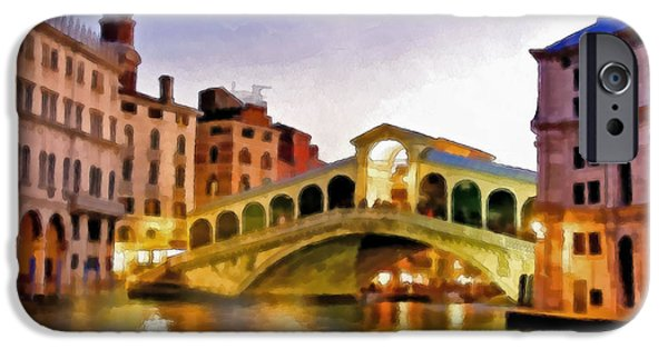 Buildings Mixed Media iPhone Cases - Hot Venetian Nights iPhone Case by Georgiana Romanovna