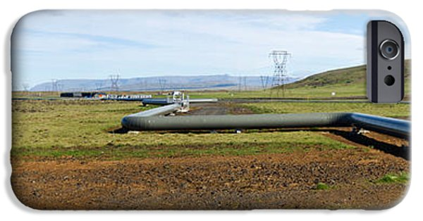 Connection iPhone Cases - Hot Water Pipeline On A Landscape iPhone Case by Panoramic Images