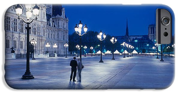 Night Lamp iPhone Cases - Hotel De Ville & Notre Dame Cathedral iPhone Case by Panoramic Images