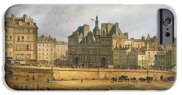 River iPhone Cases - Hotel De Ville And Embankment, Paris, 1828 Oil On Canvas iPhone Case by Guiseppe Canella