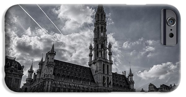Historic Site iPhone Cases - Hotel de Ville Brussels iPhone Case by Joan Carroll