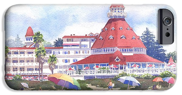 Umbrella iPhone Cases - Hotel Del Coronado Beach iPhone Case by Mary Helmreich
